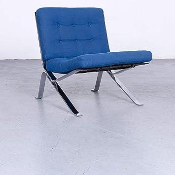 Stella Schweiz Walter Frey Designer Sessel Stoff Blau Stuhl Einsitzer  Modern #3059