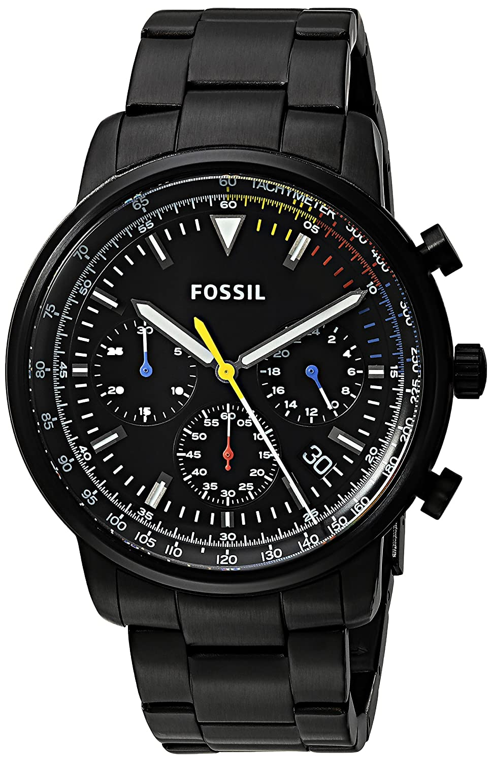 Amazon.com: Fossil Mens Goodwin Quartz Stainless Steel Casual Watch, Color:Black (Model: FS5413): Watches