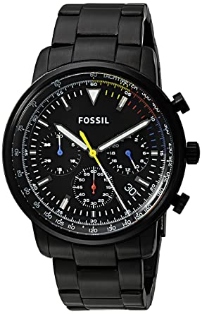 Fossil Mens Goodwin Quartz Stainless Steel Casual Watch, Color:Black (Model: