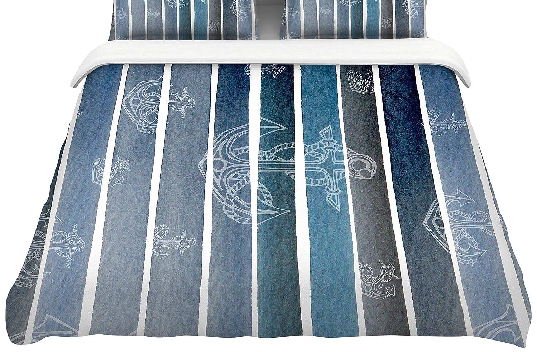 68 x 88 Kess InHouse Li Zamperini Marine II Blue White Watercolor Twin Featherweight Duvet Cover