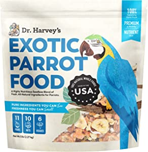Dr. Harvey's Exotic Parrot Food, Seedless Blend of Natural Food for Large Parrots (5 Pounds)