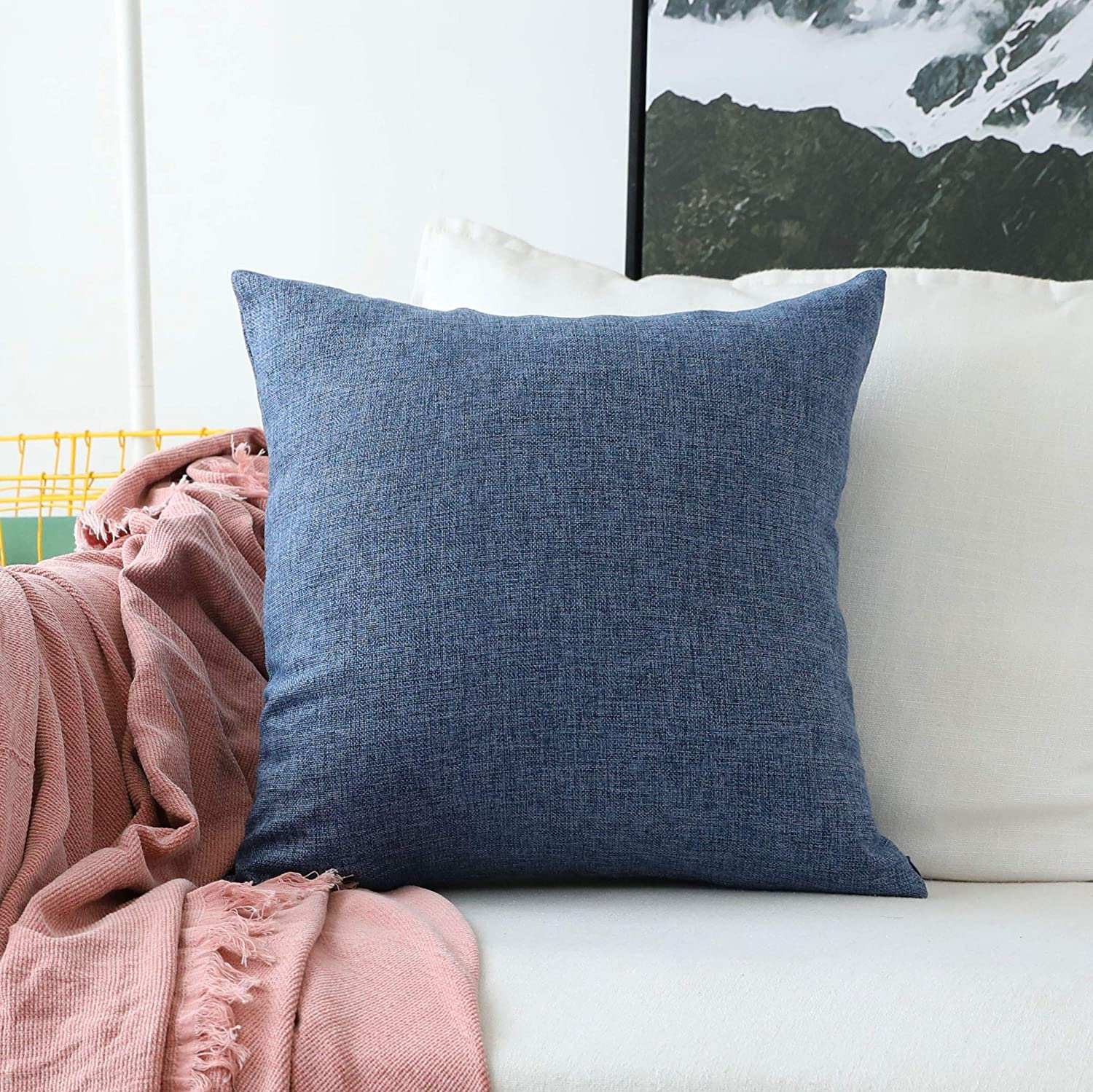 Home Brilliant Linen Euro Sham Large Throw Pillow Cover for Patio Floor, 26 x 26 Inch(66x66 cm), Navy Blue