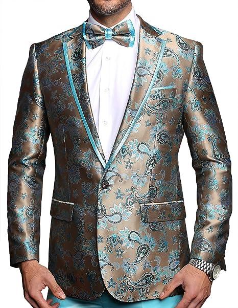 Amazon.com: Chaqueta de lujo para hombre, estilo floral ...