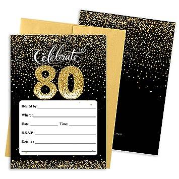 Amazoncom 80th Birthday Party Invitation Cards with Envelopes 25