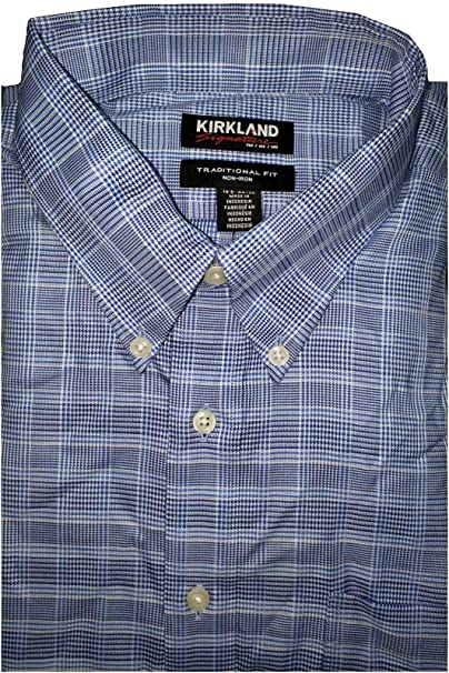 Kirkland Signature Men's Button Down Dress Shirt Light Blue White Check 16 32//33