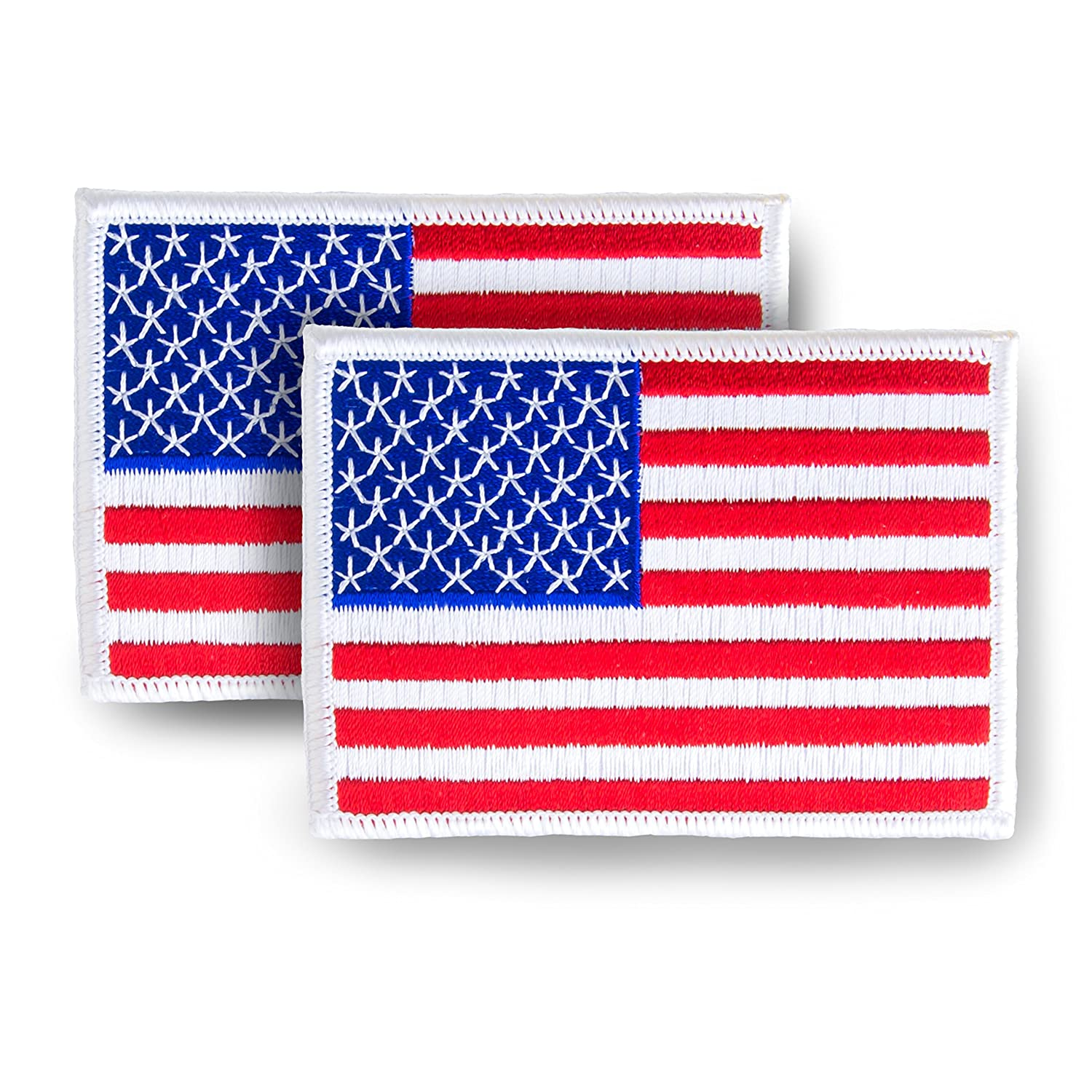 Skyhawk American Flag USA US Embroidered Iron On Sew On Patch (White Border) 3.5 x 2.5 - 2 Pack 4337025975