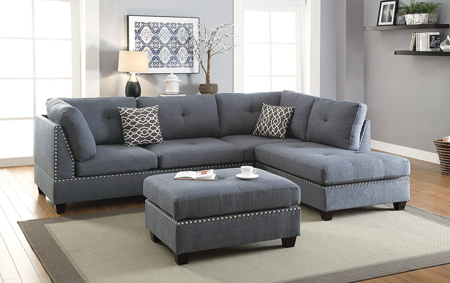 Amazon.com: 3 pieces Sectional Sofa Bobkona Blue Grey Polyfiber Sofa ...