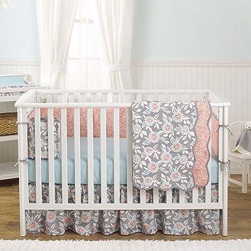 grey dahlia 4 in 1 baby girl crib bedding collection by balboa baby - Baby Girl Crib Bedding
