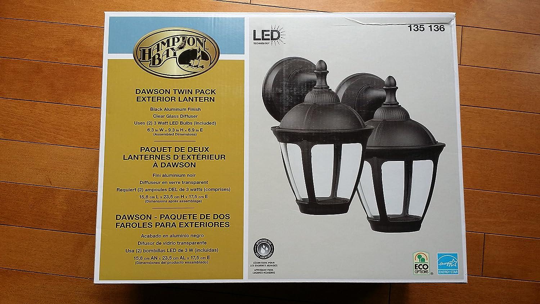 Amazon.com : Hampton Bay Dawson 2-Light Outdoor Black LED Wall Mount Lantern : Garden & Outdoor