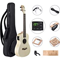 Caramel CB601 Flame Maple Baritone Acoustic Electric Ukulele with Truss Rod with D-G-B-E Strings & free G-C-E-A strings, Padded Gig Bag, Strap and EQ cable