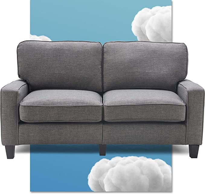 Serta Palisades Upholstered Sofas For Living Room Modern Design Couch Straight Arms Soft Fabric Upholstery Tool Free Assembly 61 Loveseat Gray Furniture Decor