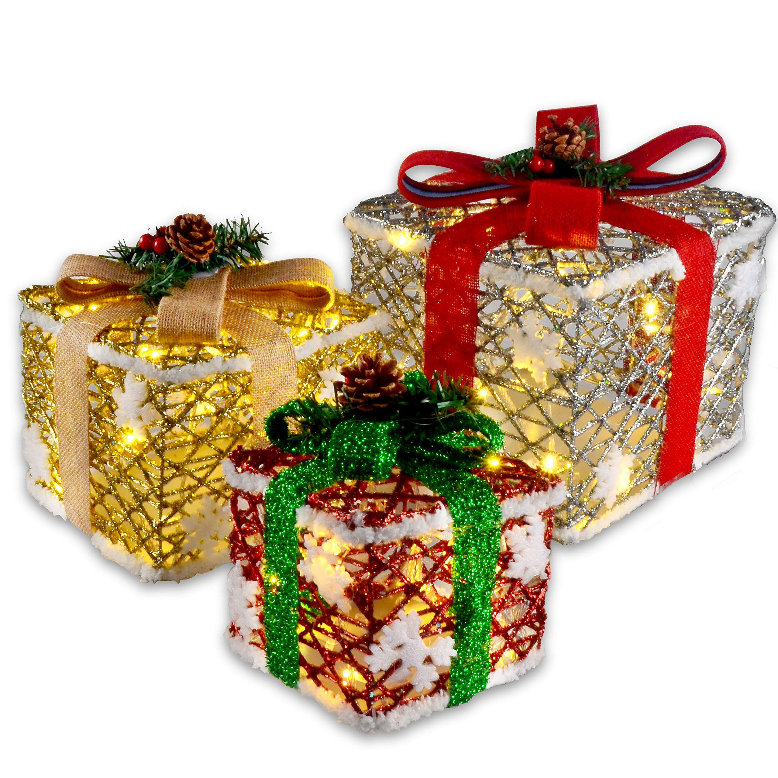 JOYIN Deluxe Lighted Gift Boxes for Christmas Decoration-with 8 ...