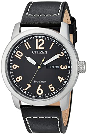 34ea72ed7c3fb0 Citizen Men's Eco-Drive Stainless Steel Quartz Leather Calfskin Strap, Black  Casual Watch (