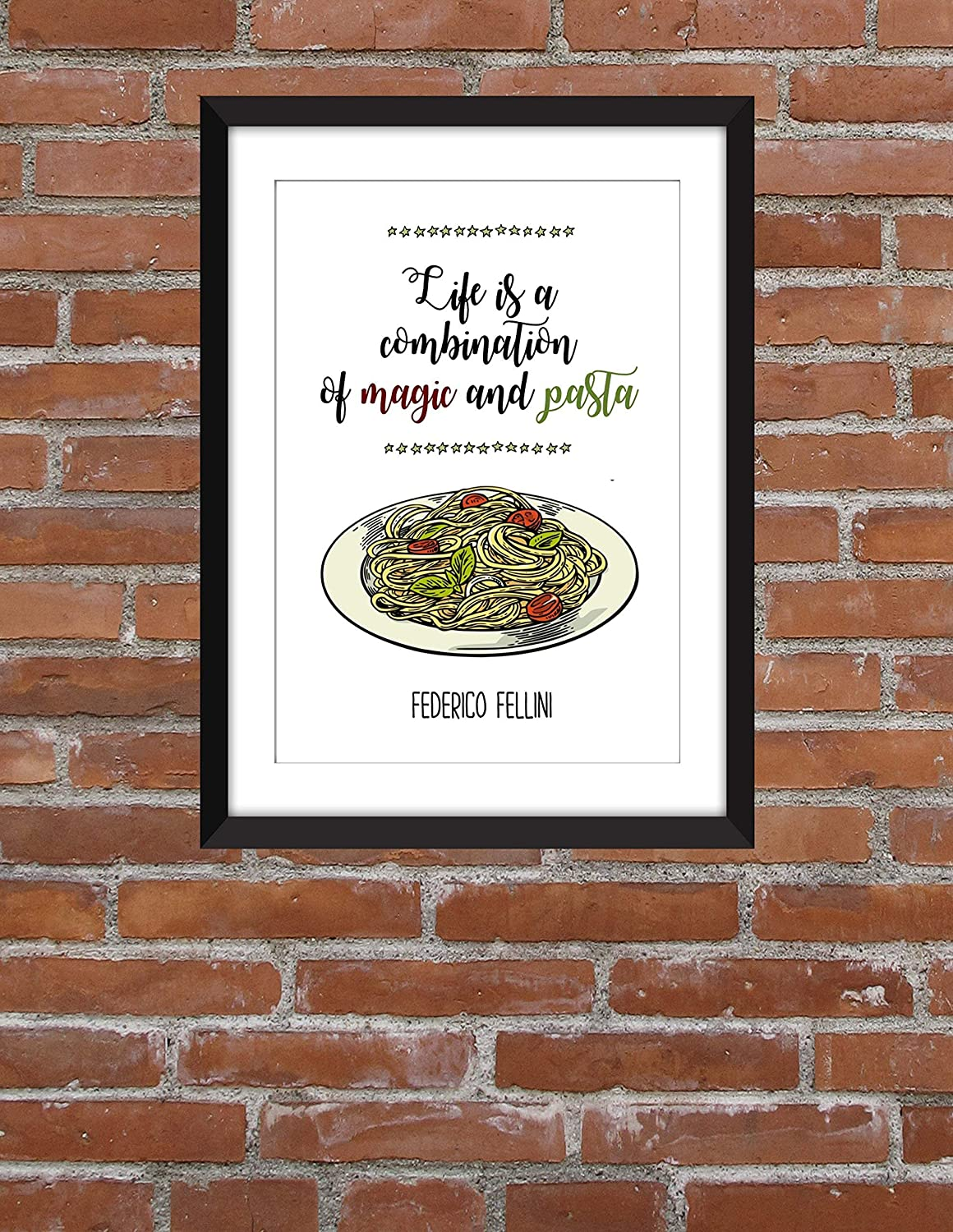 Federico Fellini Life is a Combination of Magic and Pasta Unframed Print