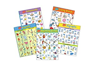Eureka Dr. Seuss Phonics Bulletin Board Set and Classroom Decorations for Teachers, 5pc, 17'' x 24''