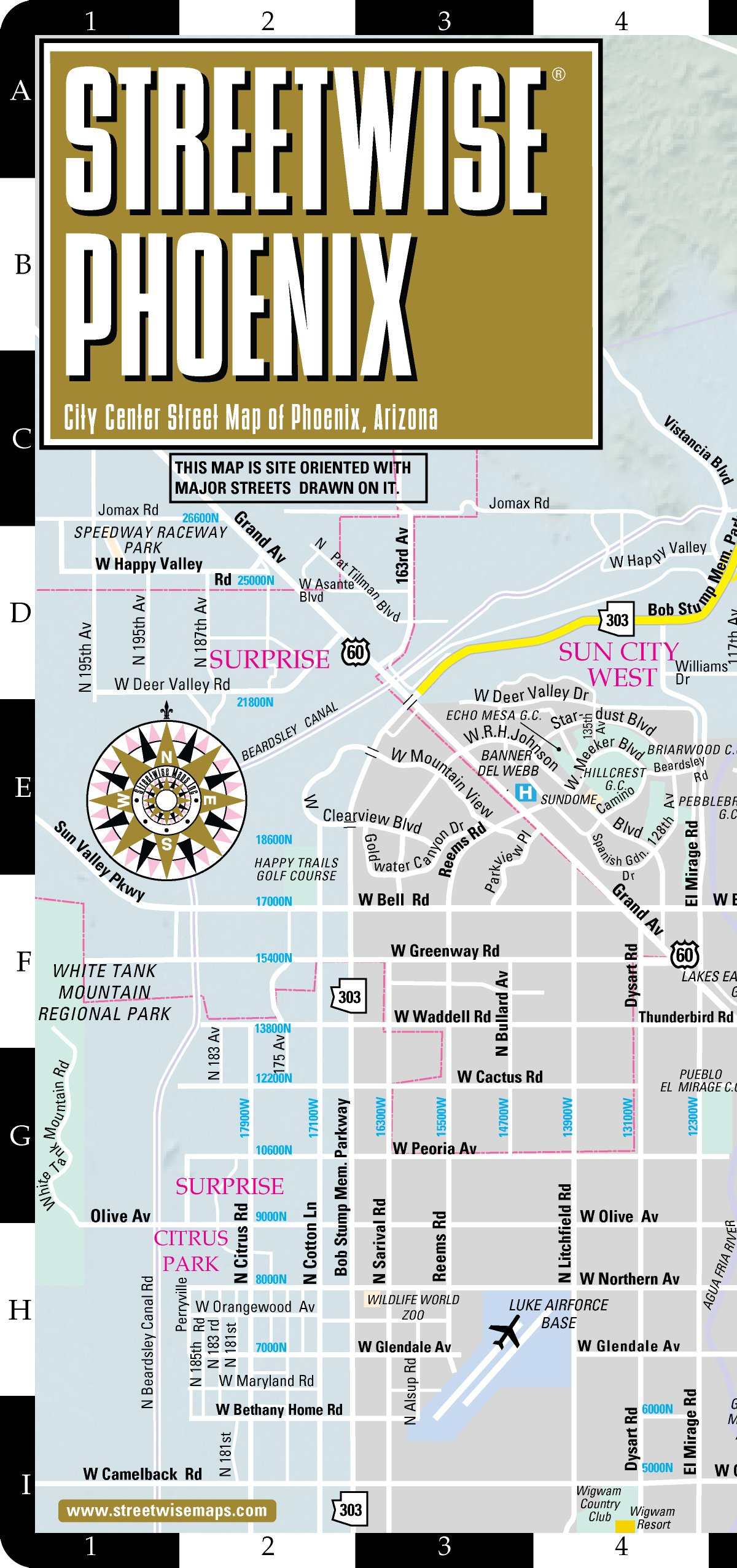 A Map Of Phoenix Arizona.Streetwise Phoenix Map Laminated City Center Street Map Of Phoenix
