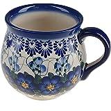BCV Classic Polish, Boleslawiec Pottery, Hand Painted Stoneware, Ceramic Mug Barrel, 10 ounces, 524-U-003