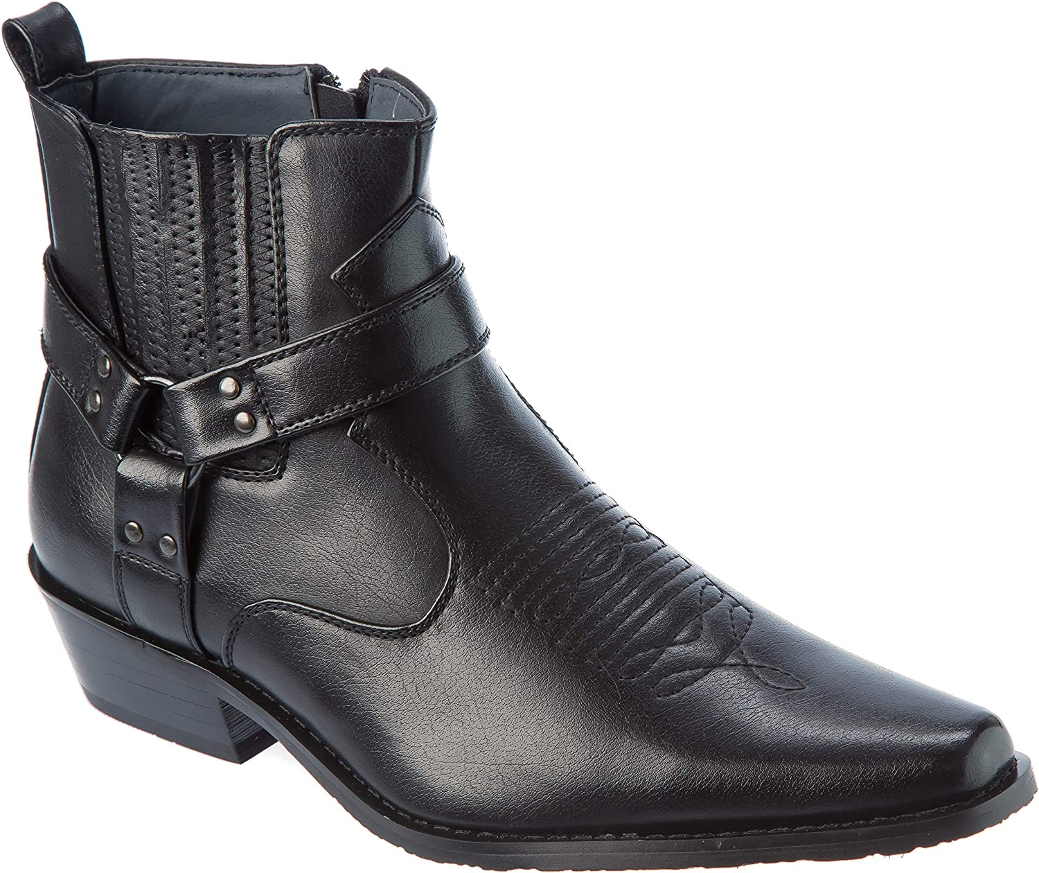 western01 Mens Wester Style Cow-Boy Boots PU-Leather Dress-Shoes