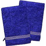 """2er Packung Waschhandschuhe / Waschlappen / Seiftücher - sinlook ® """"Liness Stripes"""" 16 x 21 cm, Farbe blau, Qualität 550 g/m², 100 % Baumwolle, Frottee Qualität"""