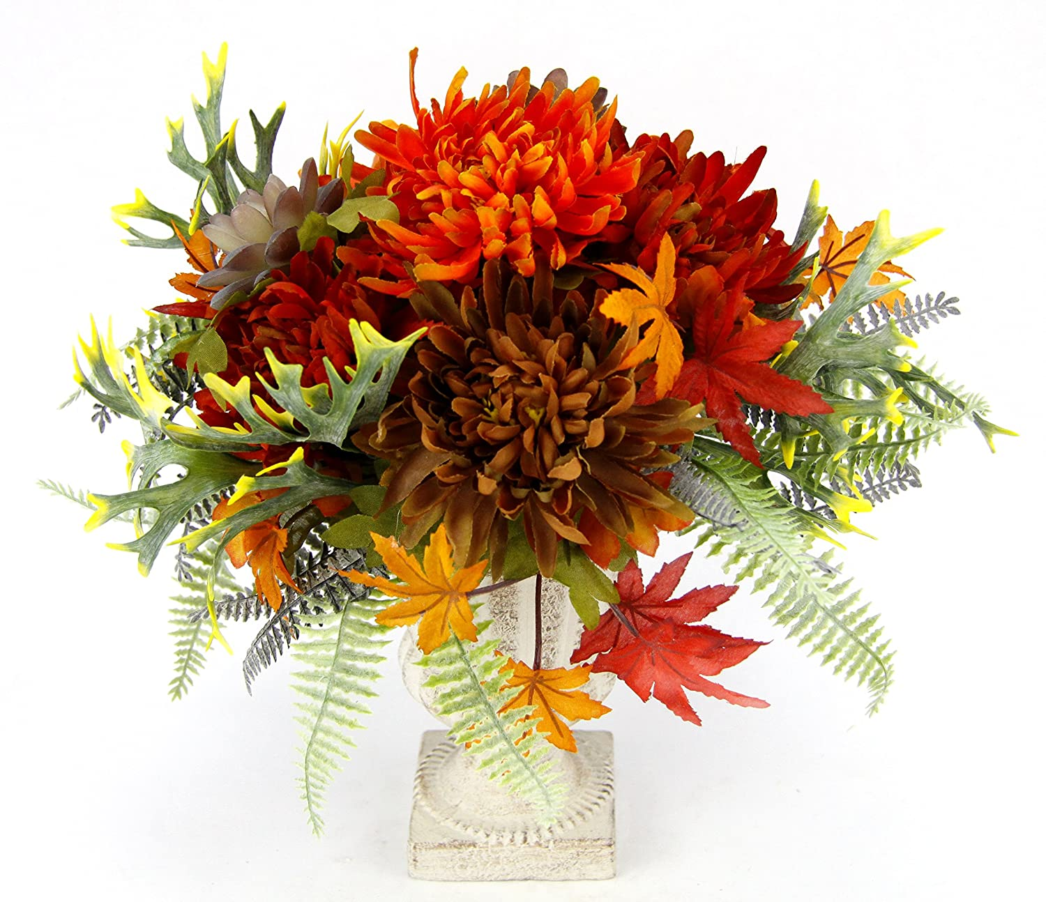 Flair Flower Chrysantheme/Dahlie im Pokal, Stoff, orange, 31 x 22 x 22 cm 088958OR