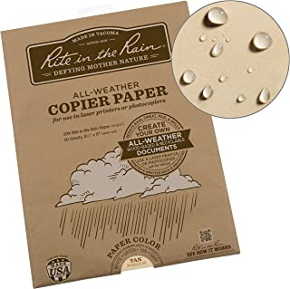 """product image for Rite In The Rain Weatherproof Laser, 8 1/2"""" x 11"""", Tan Colored Printer Paper, 50 Sheet Pack (9511T-50)"""