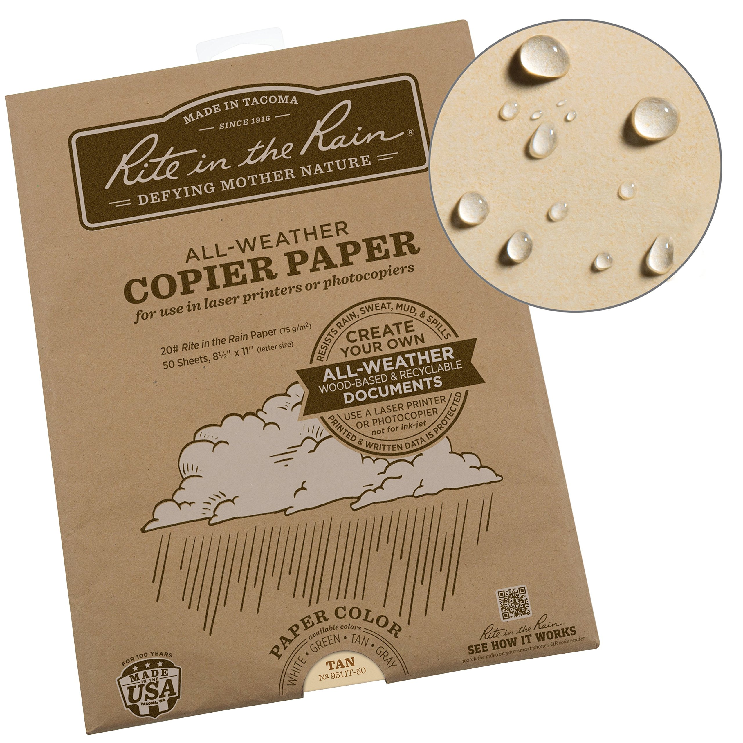 Rite in the Rain Weatherproof Laser, 8 1/2'' x 11'', Tan Colored Printer Paper, 50 Sheet Pack (9511T-50)