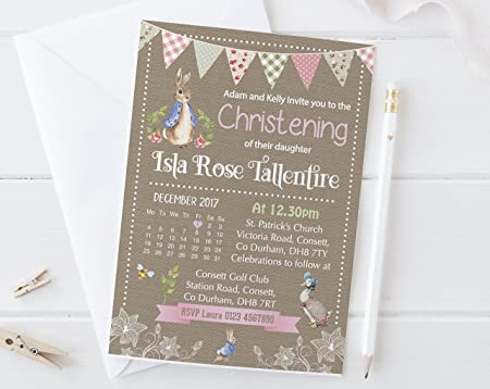 Christening PERSONALISED Baptism Naming Day Hand Crafted Card Peter Rabbit