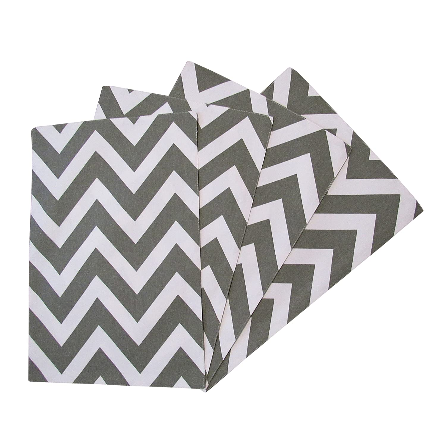 Crabtree Collection Dark Gray Chevron Table Placemat Set by The Top 4-Pack Place Mats from 100% Cotton  Fresh, Trendy Design & Eye-Catching Colors  Dining Table Accessory for Home, Restaurant, Café