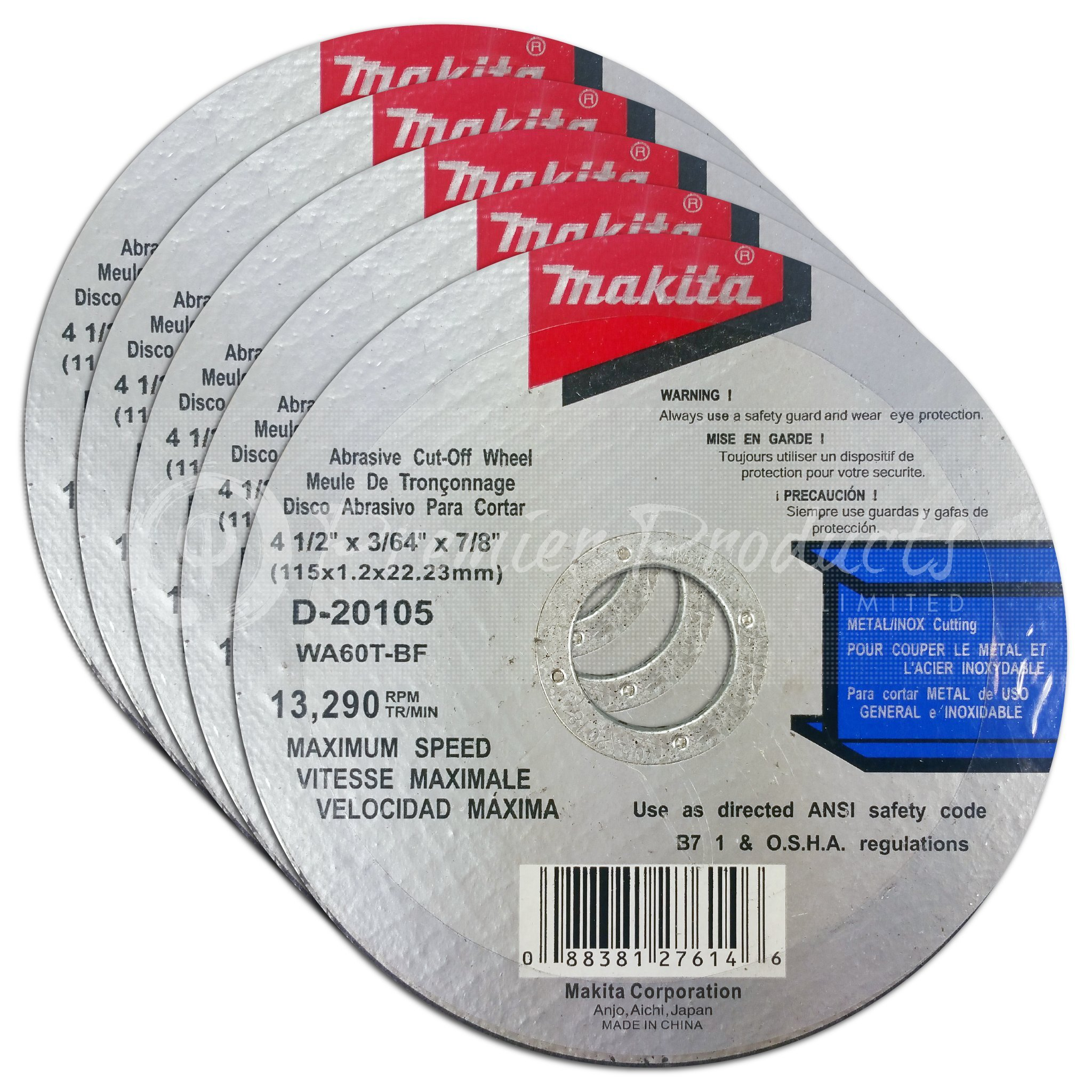 Makita 5 Pack - 4.5'' Cut Off Wheels For Grinders - Aggressive Cutting For Metal & Stainless Steel/INOX - 4-1/2'' x .045 x 7/8-Inch | Flat Cutting Wheels by Makita