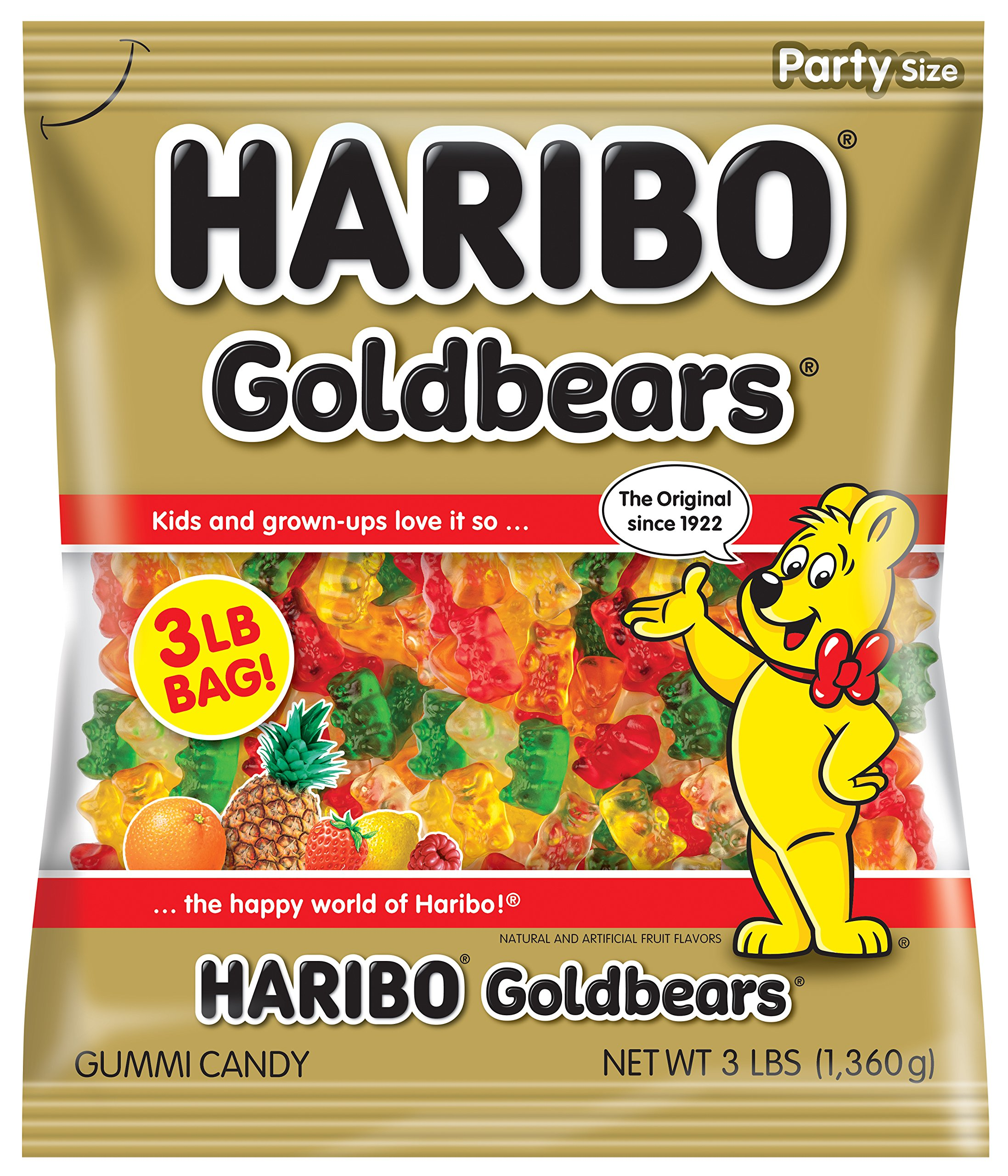 Haribo Gummi Candy, Goldbears Gummy Candy, 48 Ounce Bag (Pack of 4)
