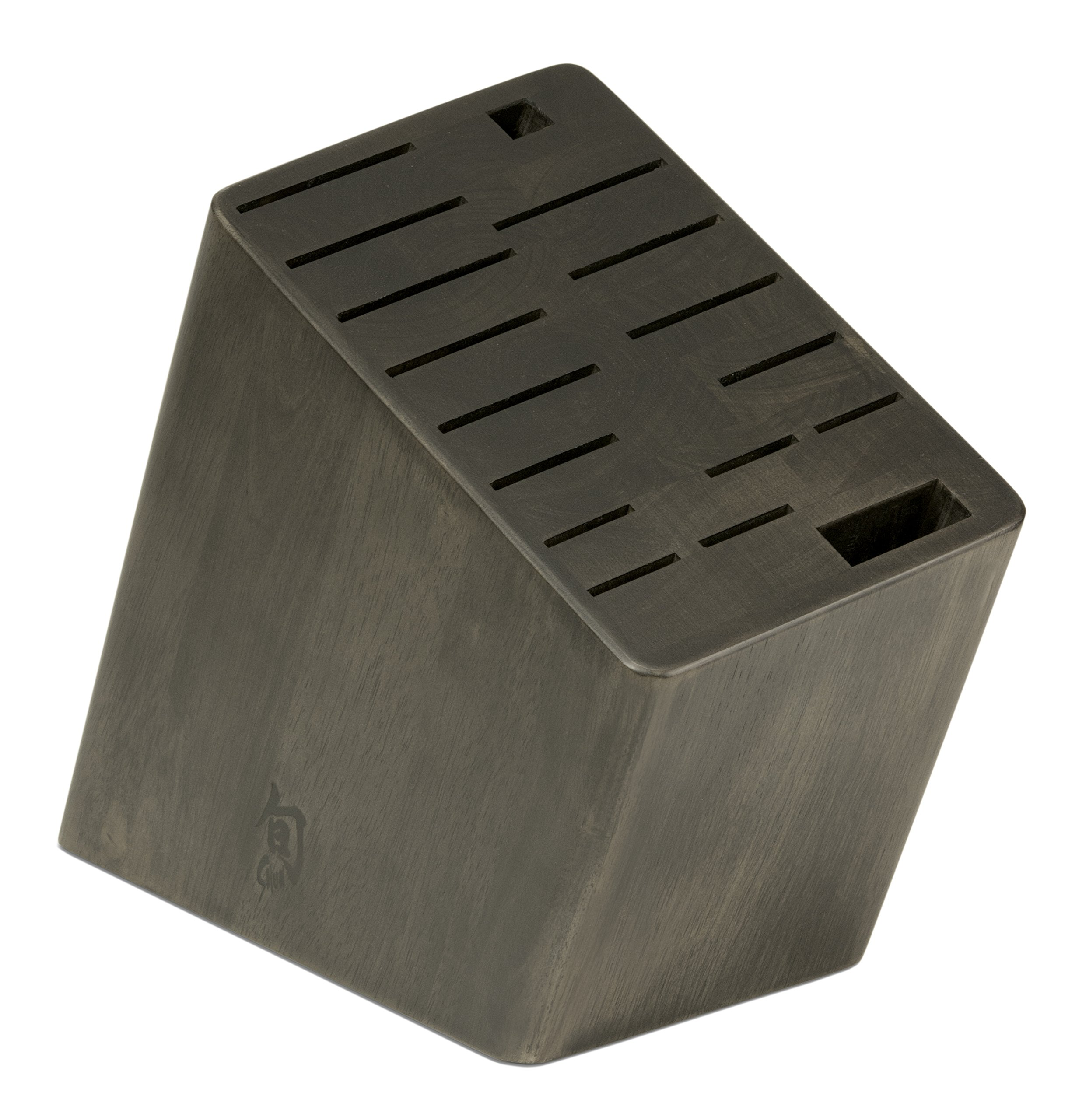 Shun 17-Slot Angled Knife Block; Perfectly Matches Kanso Line Tagayasan Handle; Coordinates Beautifully with All Shun Lines; Includes Slots for 15 Knives, a Honing Steel and Kitchen Shears by Shun (Image #1)