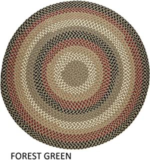 product image for Rhody Rug Jamestown Indoor/Outdoor Braided Rug Forest Green 6' Round Reversible 6' Round Indoor Round