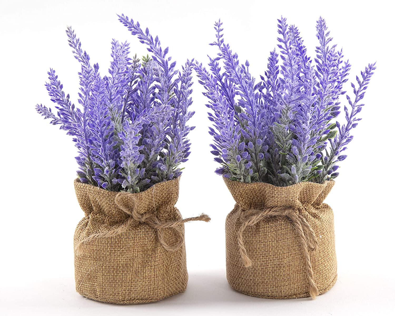 LODESTAR Artificial Lavender Flowers in Burlap Cloth Mini Pot Indoor Outdoor Home Bathroom Office Decoration Set of 2 Purple