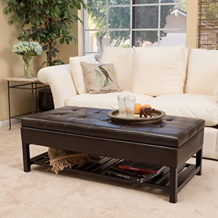 Great Deal Furniture Felix Brown Wood Rectangle Storage Ottoman Bench With  Bottom Rack