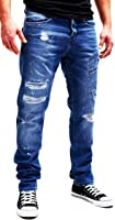 FortyFour by MERISH 5-Pocket Herren Denim Jeans Destroyed Paint Look Modell J2081