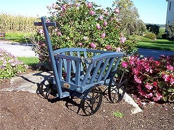 Pequeño de madera Wagon de primera calidad Belmont de cabra azul pintura para césped/jardín Amish fabricado en EE. UU.: Amazon.es: Jardín