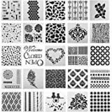 SOTOGO 25 Pcs Mix Pattern Square Shape Journal Stencil Plastic Planner Stencils Journal/Notebook/Diary/Scrapbook DIY Drawing Template Stencil