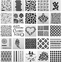 SOTOGO 25 Pcs Mixed Pattern Hollow Out Painting Stencils Square Shape Journal Stencil Plastic Planner Stencils for…