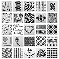 SOTOGO 25 Pcs Mix Pattern Square Shape Journal Stencil Plastic Planner Stencils Journal/Notebook/Diary/Scrapbook DIY Drawing Template Stencil