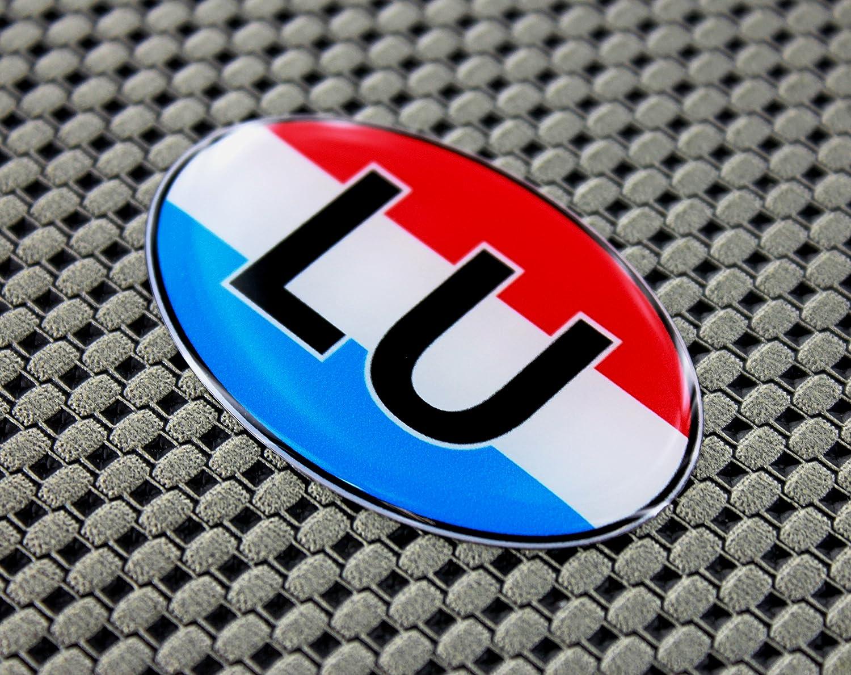 Lussemburgo bandiera con cupola 3D Decal Sticker set 6,1/x 4,1/cm ovale