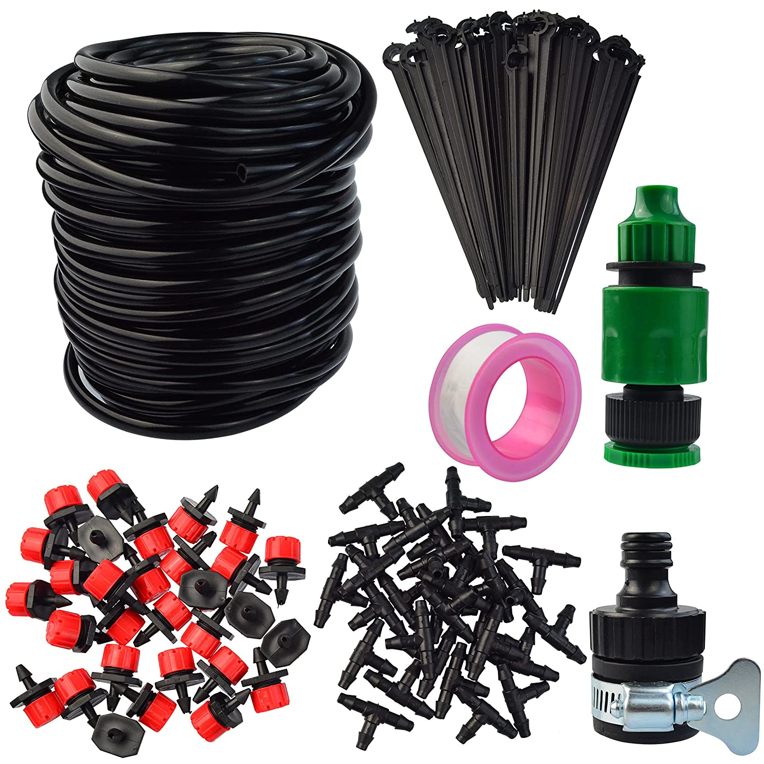 Mifengdaer 94pcs/set Adjustable Micro Irrigation Kit Dripworks Watering Irrigation System Automatic Garden Irrigation Kit Misting Cooling System DIY Patio Watering Kit for Large Garden, Grass, Lawn, Outdoor Plant, Yard, Landscape, Tree 984