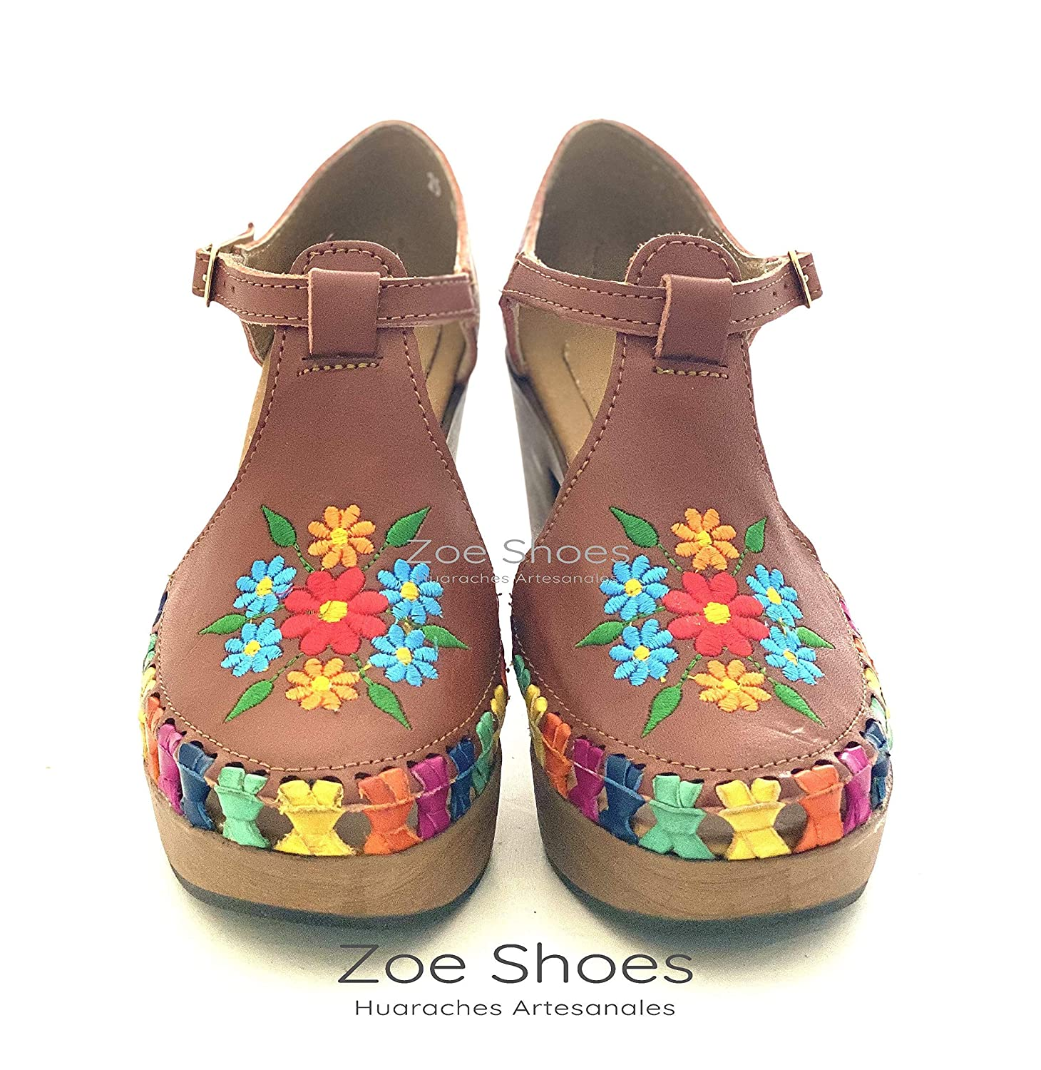 Mexican Huarache Embroidered with Flowers High Heel For Women