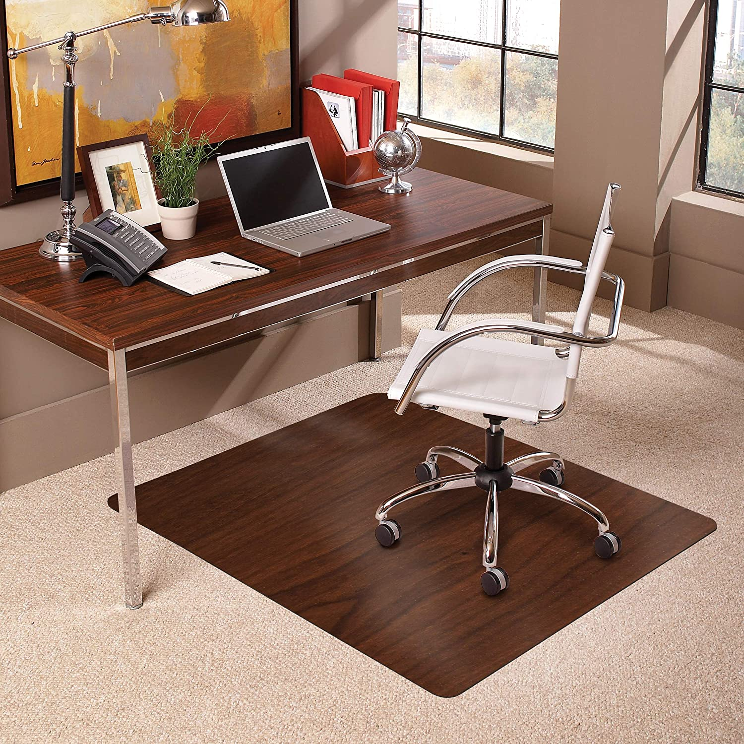 ES Robbins Trendsetter Medium Pile Carpet Chair Mat, Dark Cherry Woodgrain