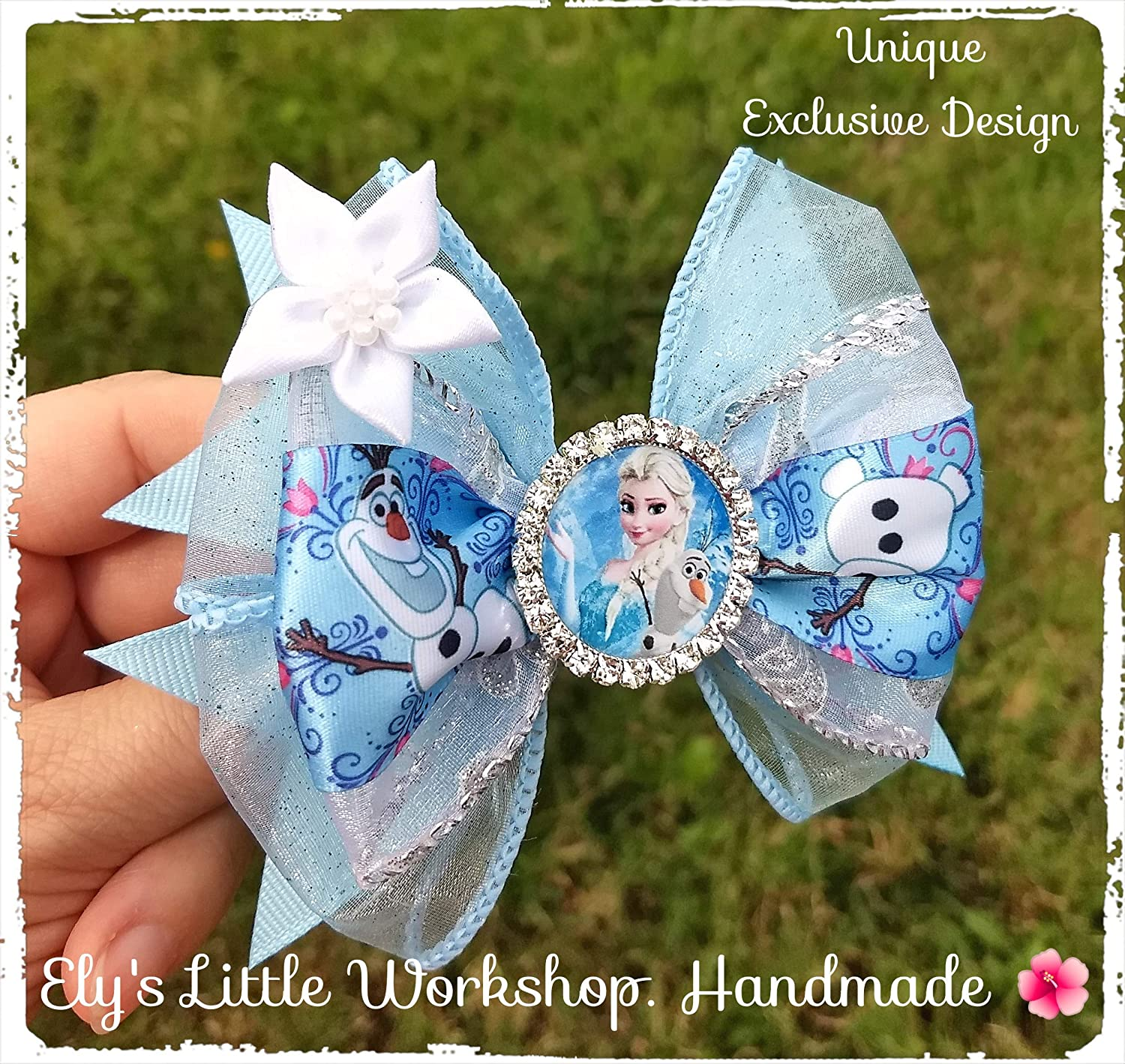 Frozen inspired hair bows, Disney inspired character Elsa and Olaf Hair Bow, UNIQUE, 100% Handmade, Girls, French Barrette 2