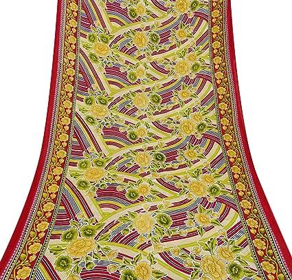 Vintage Impreso Floral del Vestido del algodón Multicolor Sari Seda Haciendo 5YDS Sari Usados