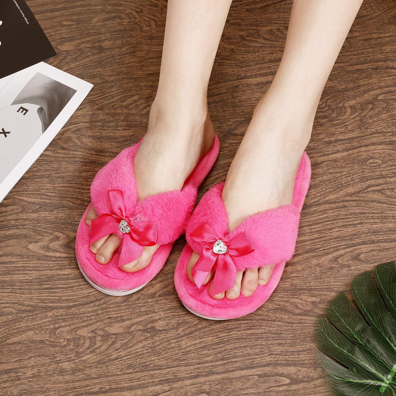 para ni/ños con suela de goma antideslizante suave Pantuflas de princesa para ni/ñas y mujeres zapatillas de interior borrosas