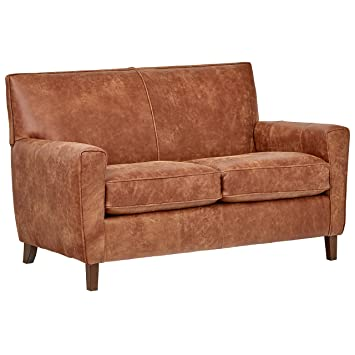 Rivet Lawson Modern Angled Leather Loveseat, 58u0026quot; W, Saddle Brown