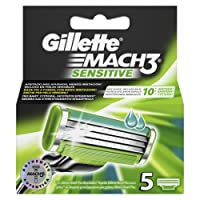Gillette Mach3 Men's Razor Blades, Pack of 5 Mach 3 Sensitive