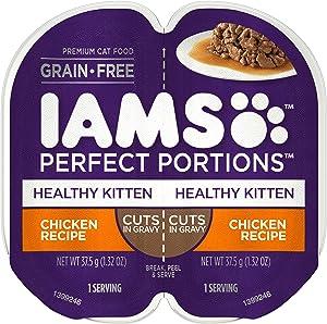 IAMS PERFECT PORTIONS Healthy Kitten Grain Free Wet Cat Food Cuts in Gravy Chicken Recipe, (24) 2.6 oz. Easy Peel Twin-Pack Trays