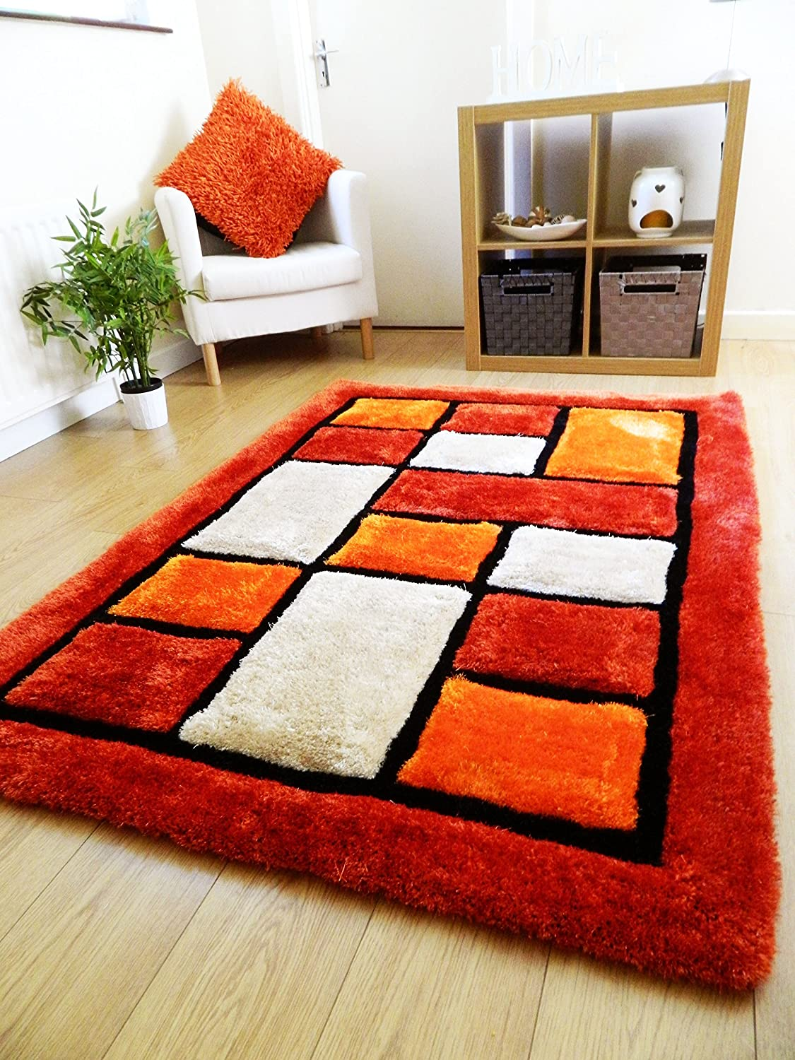 Rugs Home, Furniture & DIY MODERN  STYLISH RED  BLACK RUG THICK QUALITY SOFT HANDTUFTED RUGS  VARIOUS SIZES